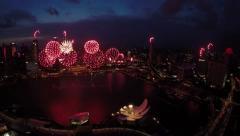 Stock Video Footage of Singapore Marina Bay Fireworks - NDP Rehearsal NE3 Show, 25 July 2015
