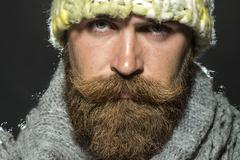 Portrait of sad homeless man Stock Photos