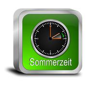 daylight saving time button - in german - stock photo