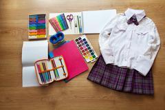 school supplies first-grader - stock photo