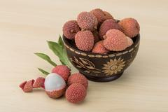 Tropical fruit - lychee - stock photo