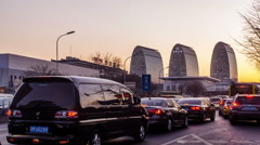 At sunset,the busy second ring road traffic and buildings in Beijing, China. Stock Footage