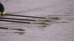 Rowing Team Oars Close-Up 8 Stock Footage