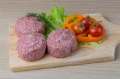 Raw burger cutlet - stock photo