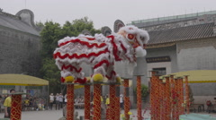 China Lion dance show Stock Footage