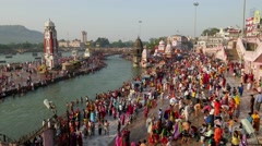 TMELAPSE crowds at Haridwar Har-Ki-Pauri ghats,Haridwar,India Stock Footage