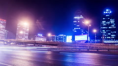 At night,the busy second ring road traffic and buildings in Beijing, China. Stock Footage