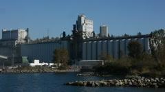Grain terminal pan to ship Stock Footage