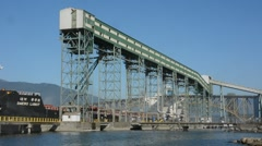 Grain Terminal superstructure with ship in background. Stock Footage