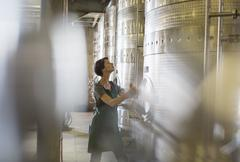 Vintner checking stainless steel vat in winery cellar Stock Photos