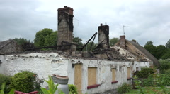 Burned out roof of Irish cottage, Ireland Stock Footage