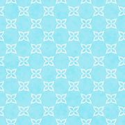 Teal and White Flower Symbol Tile Pattern Repeat Background - stock illustration