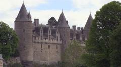 Josselin Chateau Castle in Brittany France Stock Footage