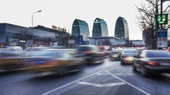 At sunset,busy 2rd ring road traffic and buildings in Beijing. Slow motion Stock Footage
