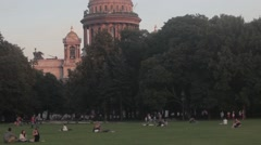 People Saint Isaac's Cathedral Alexander Garden (Saint Petersburg) Stock Footage