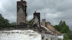 Burned out roof of Irish cottage, Ireland - stock footage