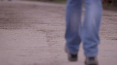 Man's Legs Walking on Path Stock Footage