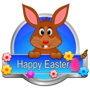 Easter bunny wishing happy easter button Stock Photos