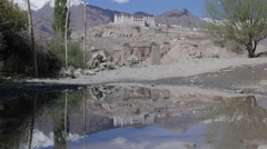 Stakna monastary with reflection in pool,Stakna,Ladakh,India Stock Footage