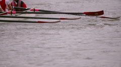 Rowing Team Oars Close-Up 14 - stock footage