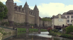Josselin Chateau Castle  and Bridge over the River Oust in Brittany France Stock Footage