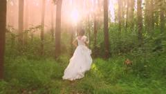 Beautiful Bride White Princess Woman Dress Vintage Running Through Forest Slow Stock Footage