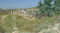 Archaeological excavations ruins of ancient Greek settlement Belyaus Stock Footage