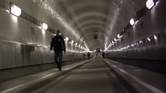 "ULTRA HD 4K real time shot, People walk through the ""old Elbe tunnel"" in Hamburg Stock Footage"