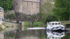 River Oust forming part of the Nantes Brest Canale at Josselin Brittany Franc Stock Footage