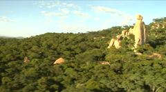 Aerial shot over beautiful granite outcrop Stock Footage