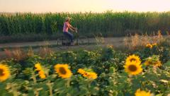 Beautiful Cowgirl Woman Riding Bicycle On Rural Road Agriculture Field Stock Footage