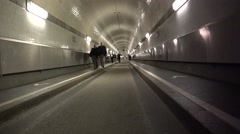 """Stock Video Footage of ULTRA HD 4K real time shot, People walk through the """"old Elbe tunnel"""" in Hamburg"""