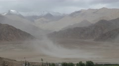 Sand storm in desert at Stakna,Stakna,Ladakh,India Stock Footage
