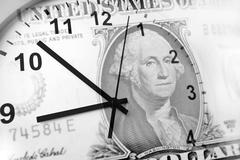 Clock and American banknote. Time is money Stock Illustration