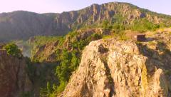 Beautiful Aerial Fly Over Canyon Rocks Cliffs Mountains River Rocks Nature Stock Footage