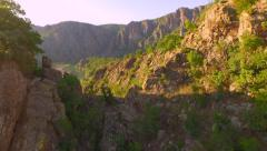 Epic Fly Through Mountain Rocks Cliffs River Canyon Adventure Freedom Landscape Stock Footage
