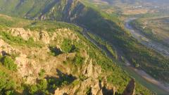 Aerial Shot Of Natural Reserve Fly Over Cliff Revealing Rivers Forest Birds Eye Stock Footage