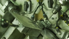 Machine With a Software is Drilling a Holes Aluminium Frame Workshop - stock footage