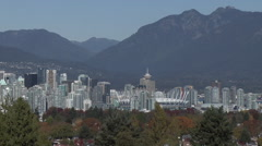 WS Vancouver skyline from Queen Elizabeth park on a sunny day Stock Footage