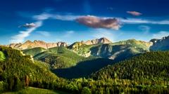 Sunset in Zakopane view to Tatra mountains Stock Footage