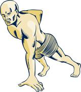 Stock Illustration of High Intensity Interval Training Push-up Etching