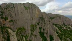 Beautiful Aerial Sharp Cliffs Rocks Hiking Extreme Mountain Chain High Altitude Stock Footage