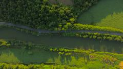 Beautiful River Aerial Summer Field Valley Fertile Land Agriculture Forest Wild Stock Footage