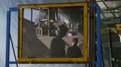 Testing of Glass on Vandal Resistance Two Workers are Beating Strike Blows with - stock footage