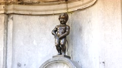 ULTRA HD 4K real time shot,Manneken Pis statue in Brussels Stock Footage