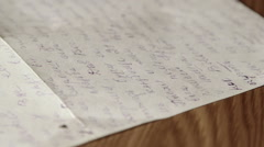 Vintage cursive russian personal letter - stock footage