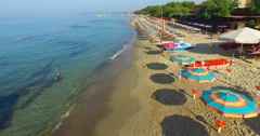 Aerial view of Tuscan Beach, Italy Stock Footage