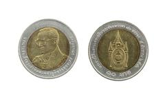 Ten Baht Thailand coins limited edition. Stock Photos