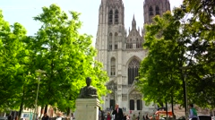 ULTRA HD 4K real time shot,The Cathedral of St Michael in Brussels Stock Footage
