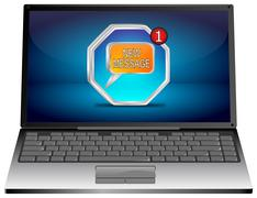 Laptop computer with new Message Button Stock Photos